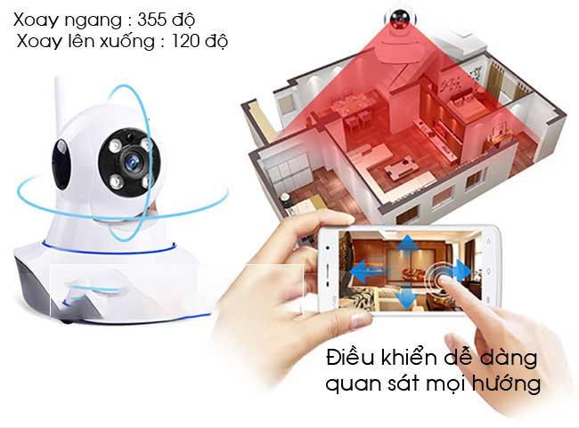 Camera Yoosee Xoay ngang 355 độ, xoay dọc 120 độ